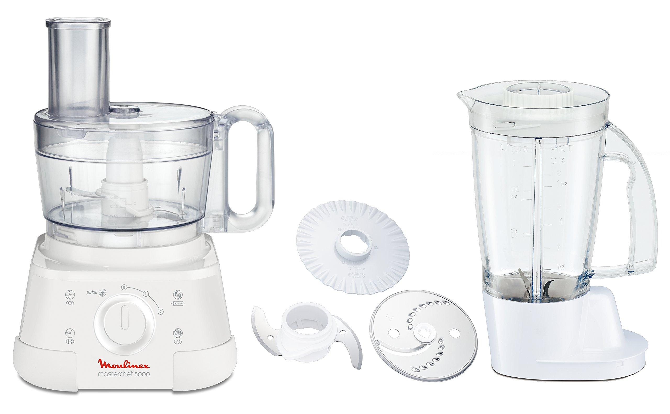 Moulinex Masterchef 5000 FP513110 - Robot de cocina, 750 W, 2.2 L, plástico, 2 velocidades, blanco: Amazon.es: Hogar