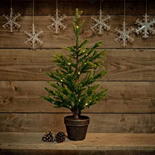 Noma - Mini árbol de Navidad artificial preiluminado en una maceta: batería con temporizador: LED de alambre blanco cálido, 7219327