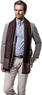 WINDAY Men's Winter Fall Plaid Stripes Long Cashmere Pashmina Feel Warm Scarves W110