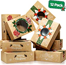 Christmas Cookie Boxes with Window – Bulk 12 Pack Kraft – Large Holiday Christmas Food, Bakery Treat Boxes, Candy and Cook...