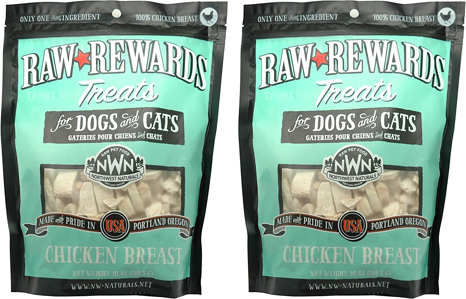 Northwest Naturals 2 Pack of Chicken Breast Raw Rewards, 10 Ounces Each, Freeze Dried Treats for Dogs and Cats