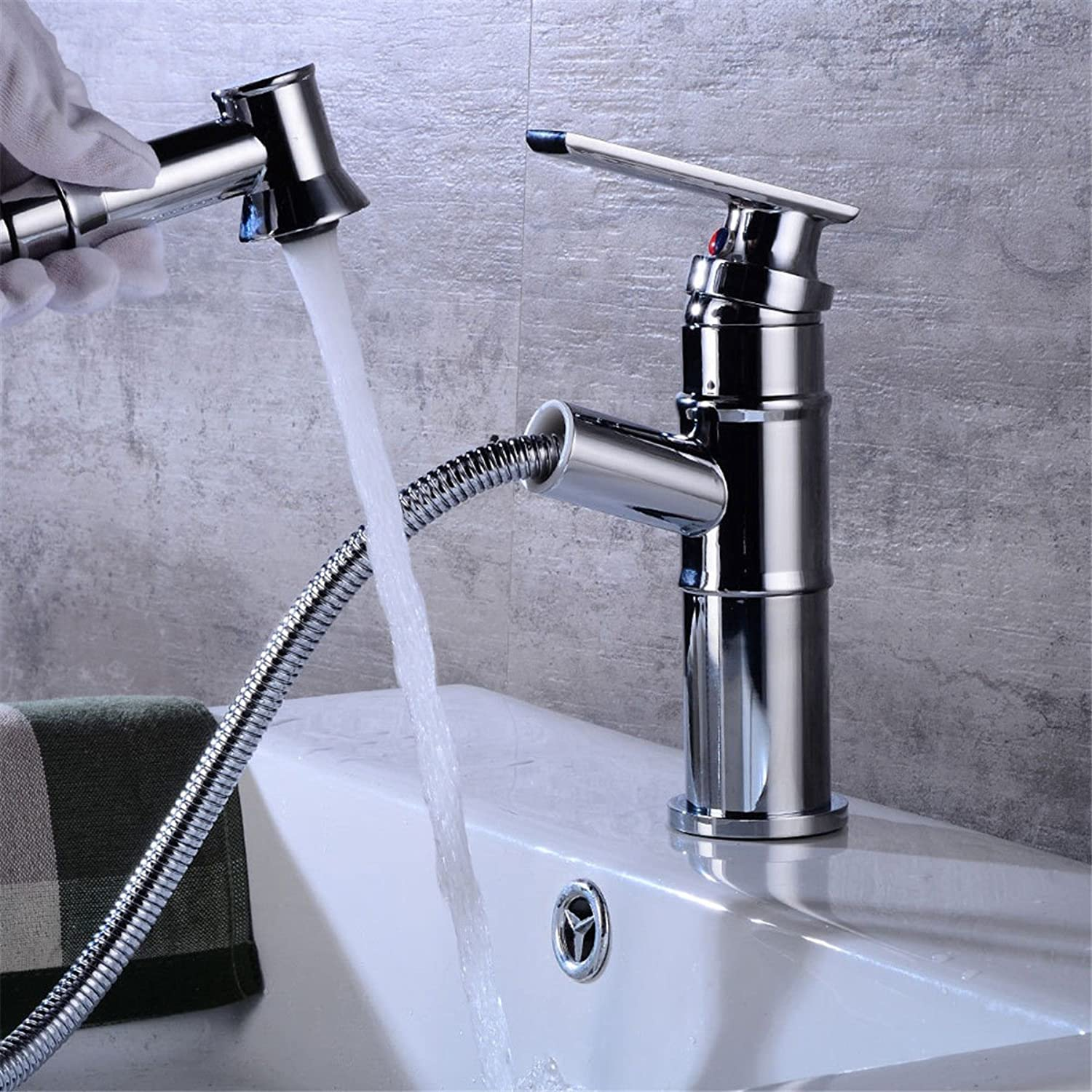AQMMi Basin Taps Bathroom Sink Faucet Chrome Plated Pull-Out Hot and Cold Water Bathroom Sink Faucet Basin Mixer Tap