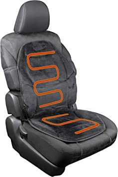 HealthMate IN9438 Velour 12V Heated Seat Cushion with Lumbar Support, Heating with Easy Controller, Color Black, Products by Wagan: image