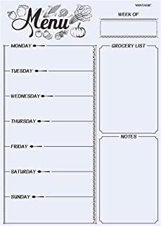Magnetic Refrigerator Whiteboard,Weekly Menu, Meal Planner, Grocery Shopping List, Dry Erase Board, for Kitchen Fridge wit...