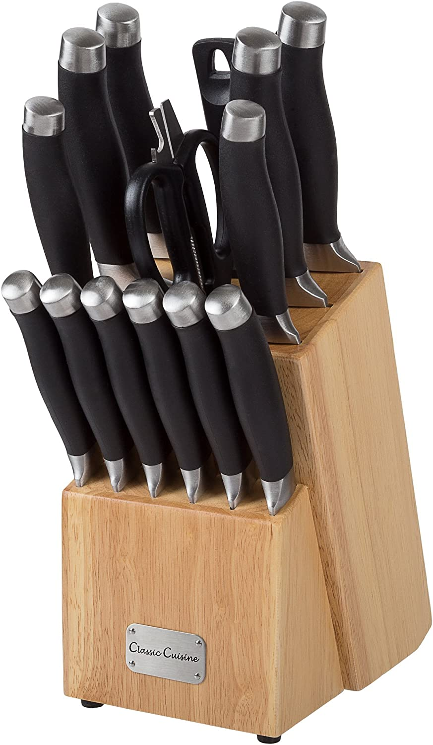 Professional Quality 15 Piece Stainless Knife Set with Shears Sharpener Chef Bread Santoku Filet Paring Steak Knives and Wood Block by Classic Cuisine