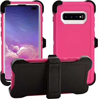 AlphaCell Cover Compatible with Samsung Galaxy S10 (Only) | Holster Case Series | Military Grade Protection with Carrying Belt Clip | Protective Drop-Proof Shock-Proof | Pink/White