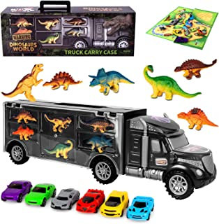 AOKESI Truck Toy Cars Dinosaur Transport Carrier Vehicles Toy Set with 6 Dinosaurs and 6 Mini Cars Great Dinosaur Toys for Boys and Girls (Includes Play Map)