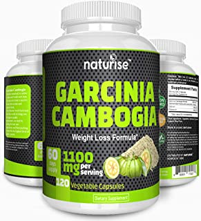 100% Pure Garcinia Cambogia Extract 95% HCA - 1100mg 120 Weight Loss Pills, Non GMO - Gluten & Gelatin Free - Natural Appe...