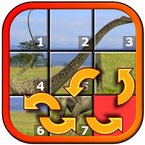 Kinder Dinosaurier Rex Slide Puzzle 15 - mystische Quadrate Form Neuanordnung der Mosaik-Spiel geeignet für die Entwicklung von brainy älterer Kindern im Alter von