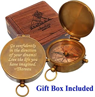 Stanley London Antique Brass Pocket Compass Engraved with Thoreau's Go Confidently Quote