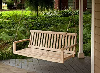 Premium Porch Swing Patio Swings Outdoor Wooden 2 Person Bench Furniture Hanging Modern Log All Weather Style