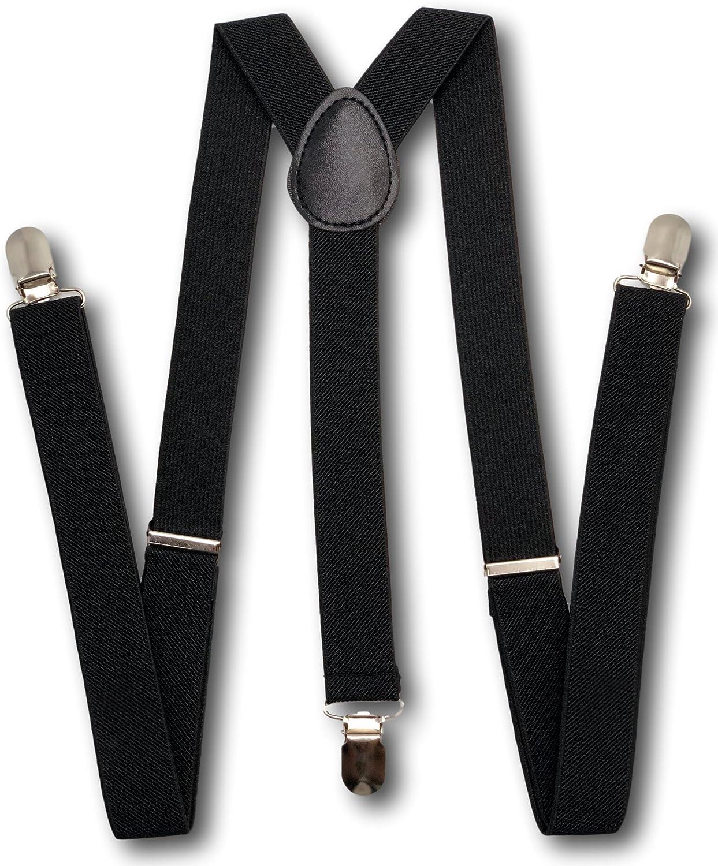 McWay Suspender for Men - Adjustable One Size Most Fit Y Back Unisex Suspenders (Black)