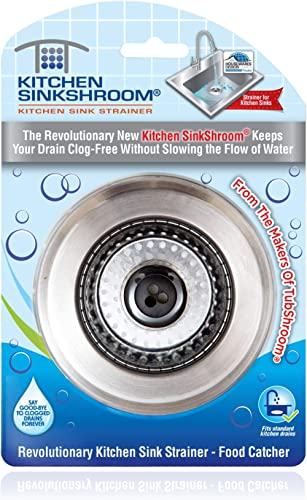 Kitchen SinkShroom Revolutionary Clog-Free Stainless Steel Sink Strainer, Chrome gray