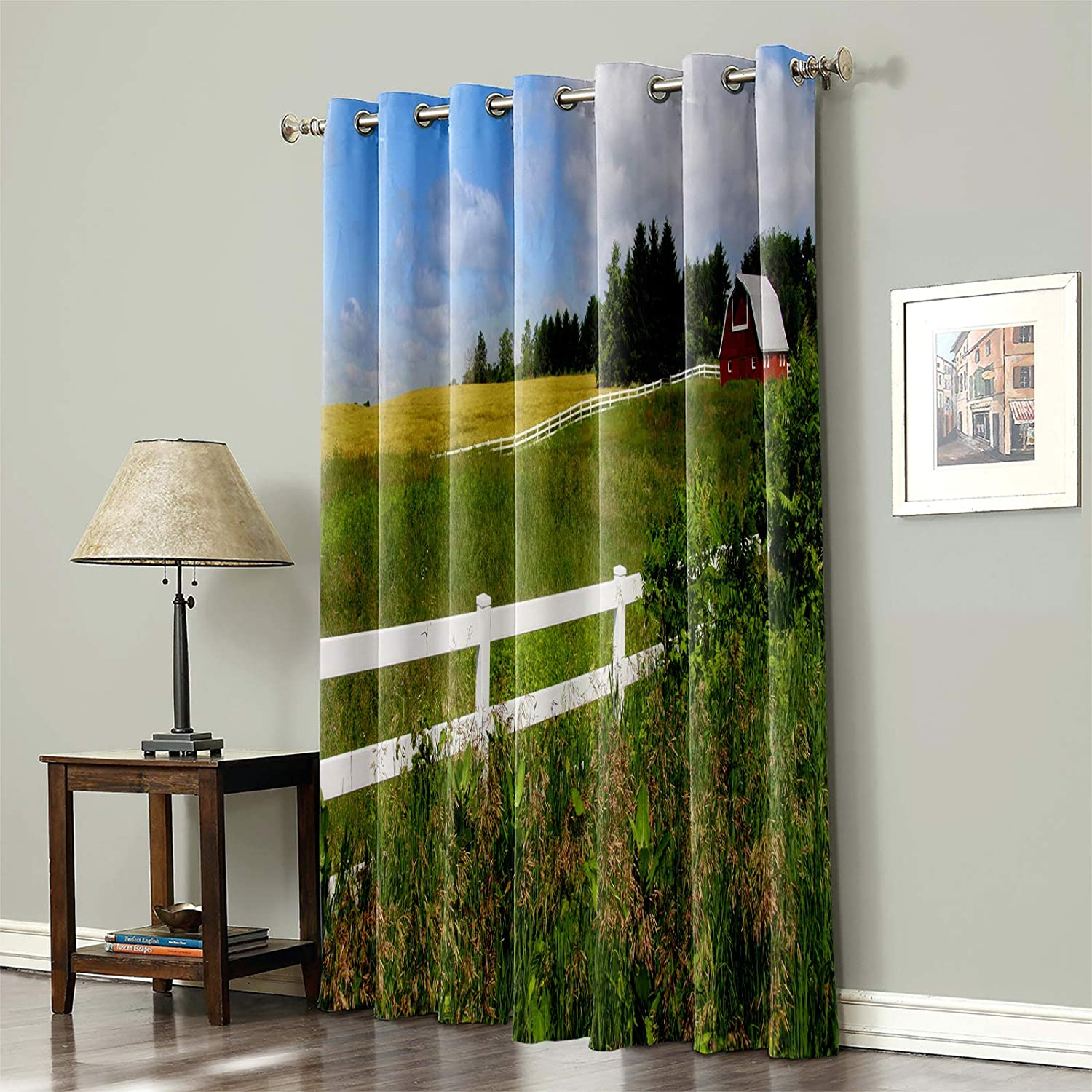 Blackout Curtain for Bedroom Farm Red Green Grass Vast Barn For 5 ☆ very Limited Special Price popular