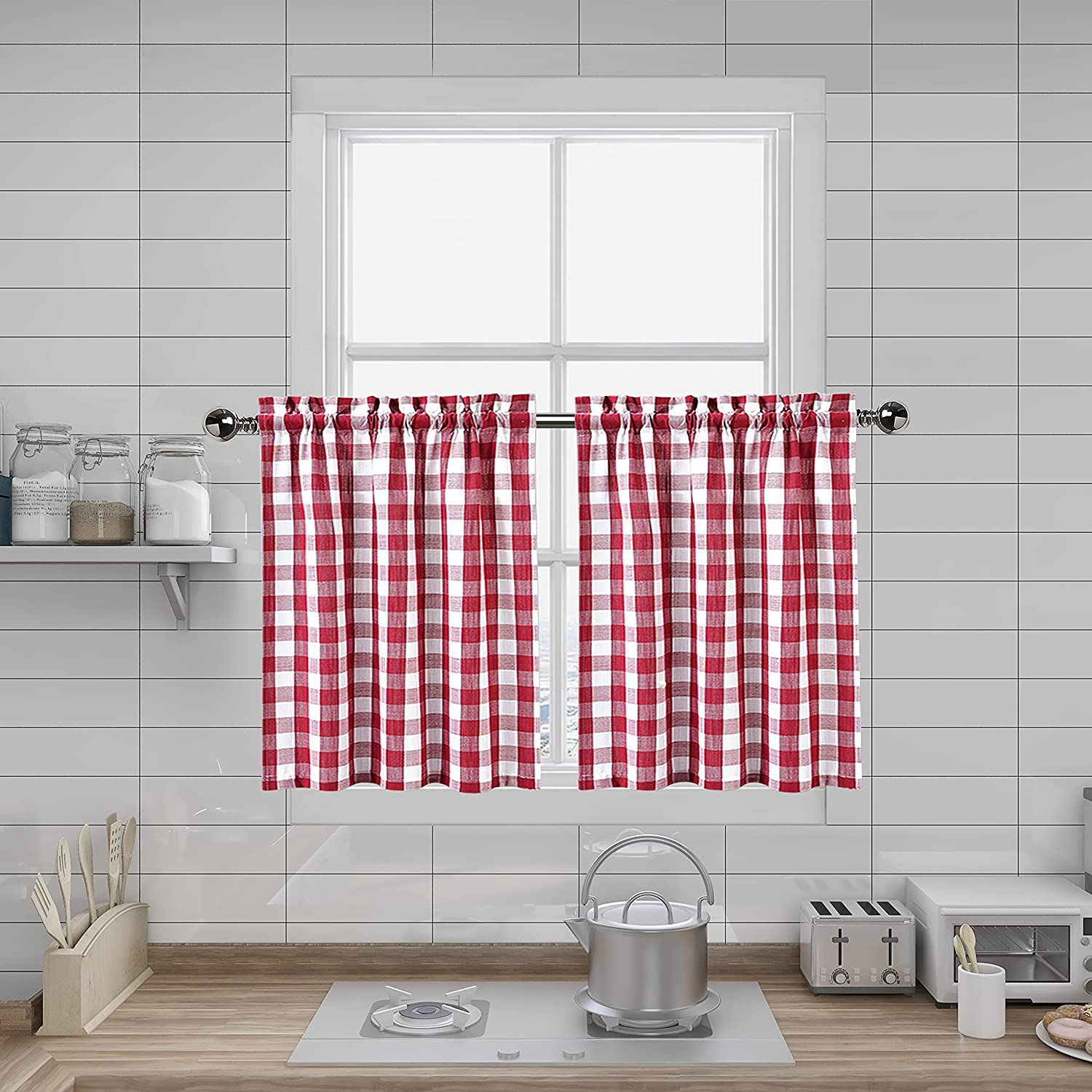 Red and White Tier Kitchen Dedication OFFicial Curtains Buffalo Inches Long 36 Plai