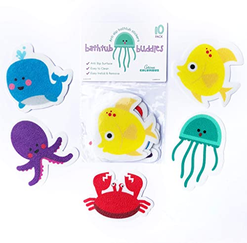 Curious Columbus Non-Slip Bathtub Stickers Pack of 10 Large Sea Creature Decal Treads. Best Adhesive Safety Anti-Slip...