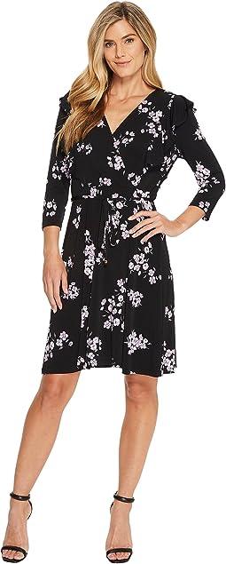 Ivanka Trump - Matte Jersey Ditsy Floral Ruffle Faux Wrap Dress