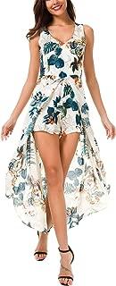 KorMei Womens Sleeveless Scoop Neck Floral Rayon Party Split Maxi Romper Dress