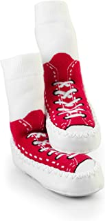 Sock Ons Mocc Ons Moccasin Style Slipper Socks for12-18 Month Babies, Red