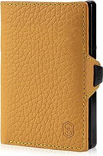 ZNAP Portafoglio Porta Carte di Credito - Protezione RFID - Giallo bottalato - Fino a 4-8 carte - Portafoglio Uomo Slim, P...