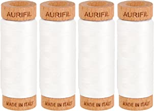 Bundle of Four Spools of Aurifil 80wt Egyptian Cotton Thread, 306 Yards (280 Meters) (#2021 Nat. White)