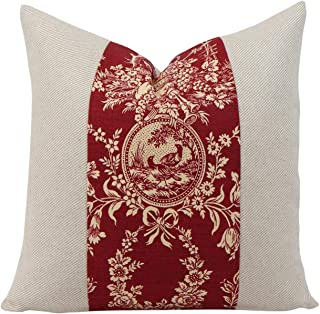 Blanche989 Red and Cream Farmhouse Toile Throw Pillow Square Cover 18x18 Euro Bed or Sofa French Country Floral Cushion