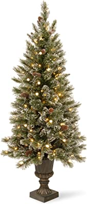 National Tree 4 Foot Glittery Bristle Pine Entrance Tree with White Tipped Cones, Glitter and 100 Clear LED Lights in Decorative Bronze Urn (GB3-326-40)