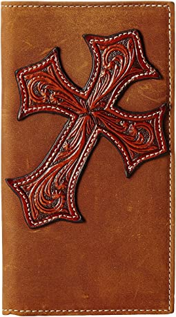 Large Tooled Cross Overlay Rodeo Wallet