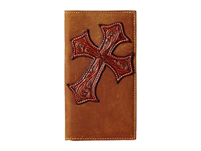 M&F Western Large Tooled Cross Overlay Rodeo Wallet (Brown) Wallet Handbags