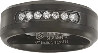 Black Tungsten Carbide Diamond Mens Wedding Band .20CTW H-I I2