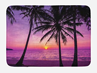 Ambesonne Ocean Bath Mat, Palm Trees Silhouette at Sunset Dreamy Dusk Warm Exotic Twilight Scenery Image, Plush Bathroom Decor Mat with Non Slip Backing, 29.5