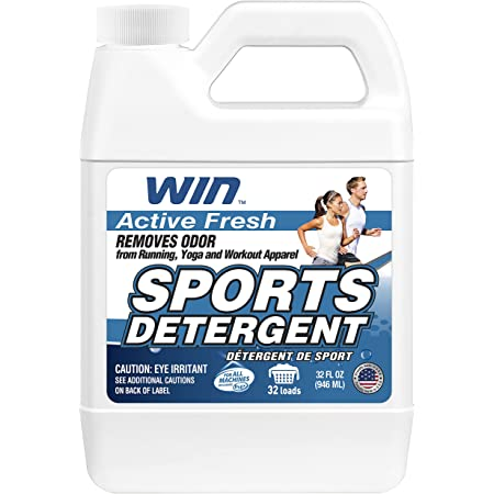 WIN Sports Laundry Detergent - Remove Sweaty Odor from Running Gym Microfiber Workout Clothes and Activewear Yoga Apparel - Fresh Scent - 32 Fl Oz