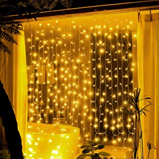 EZDAILY Sparkling 300 LED Curtain String Lights, 8 Modes Fairy String Lights Wedding Party Home Garden Bedroom Outdoor Ind...