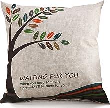 Chezmax Cotton Linen Blend Cushion Square Decorative Throw Pillow Cover Waiting Tree