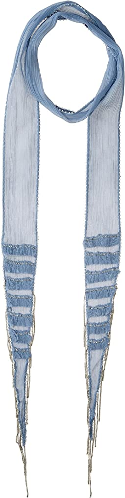 Viscose Chiffon Skinny Scarf with Layered Fringe