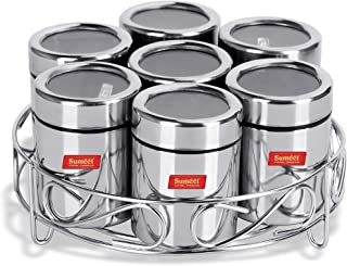Sumeet 7in1 Stainless Steel + See Through Lid Masala Stand/Dry Fruit Stand with Stand and 7 Spoons