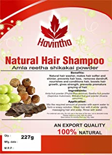 Natural Hair Shampoo for Hair 8 oz, AMLA REETHA SHIKAKAI POWDER (Phyllanthus emblica,Sapindus mukorossi,Acacia concinna),Product of Havintha, 227g