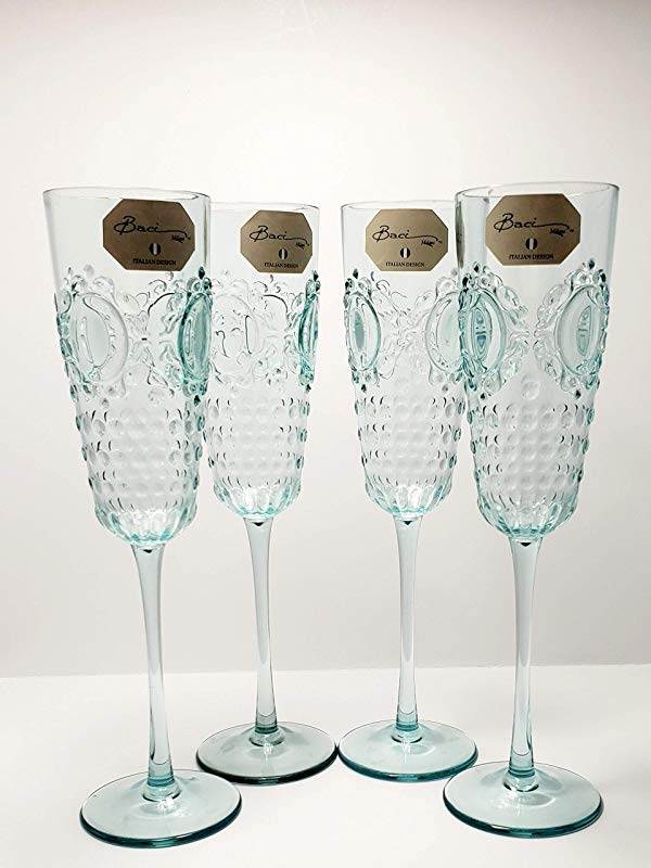 Baci Milano Baroque Rock Acrylic Glasses Champagne Wine Drinking Flutes Set Of Four 4 Piece Set Aqua Dishwasher Safe Shatterproof Kitchen Indoor Outdoor