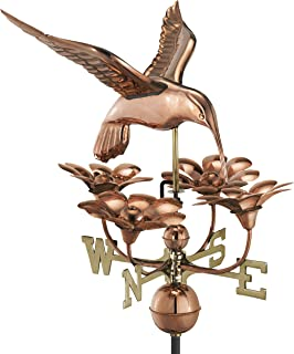 Good Directions Hummingbird with Flowers Weathervane, Pure Copper