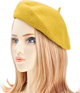 Wool Beret Hat Classic Solid Color French Beret for Women Girls Black caa53213ca9