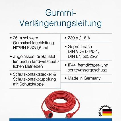 As Schwabe Gummi Verlängerung 230 V 16 A 20 M Verlängerungskabel Verlängerungsleitung Mit Stecker Kupplung Stromverlängerungskabel Für Innen Außen Ip44 Made In Germany I 60273 Baumarkt