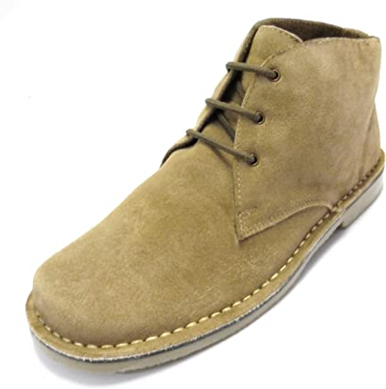 Real Suede Retro Mod Desert Boots in Biege,Black and Dark Brown : boots