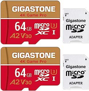 【5年保証 】Gigastone 64GB マイクロSDカード A2 4K 2pack 2個セット Ultra HD 4K ビデオ録画 高速4Kゲーム 動作確認済 100MB/s マイクロ SDXC UHS-I U3 C10 Class 10 ...