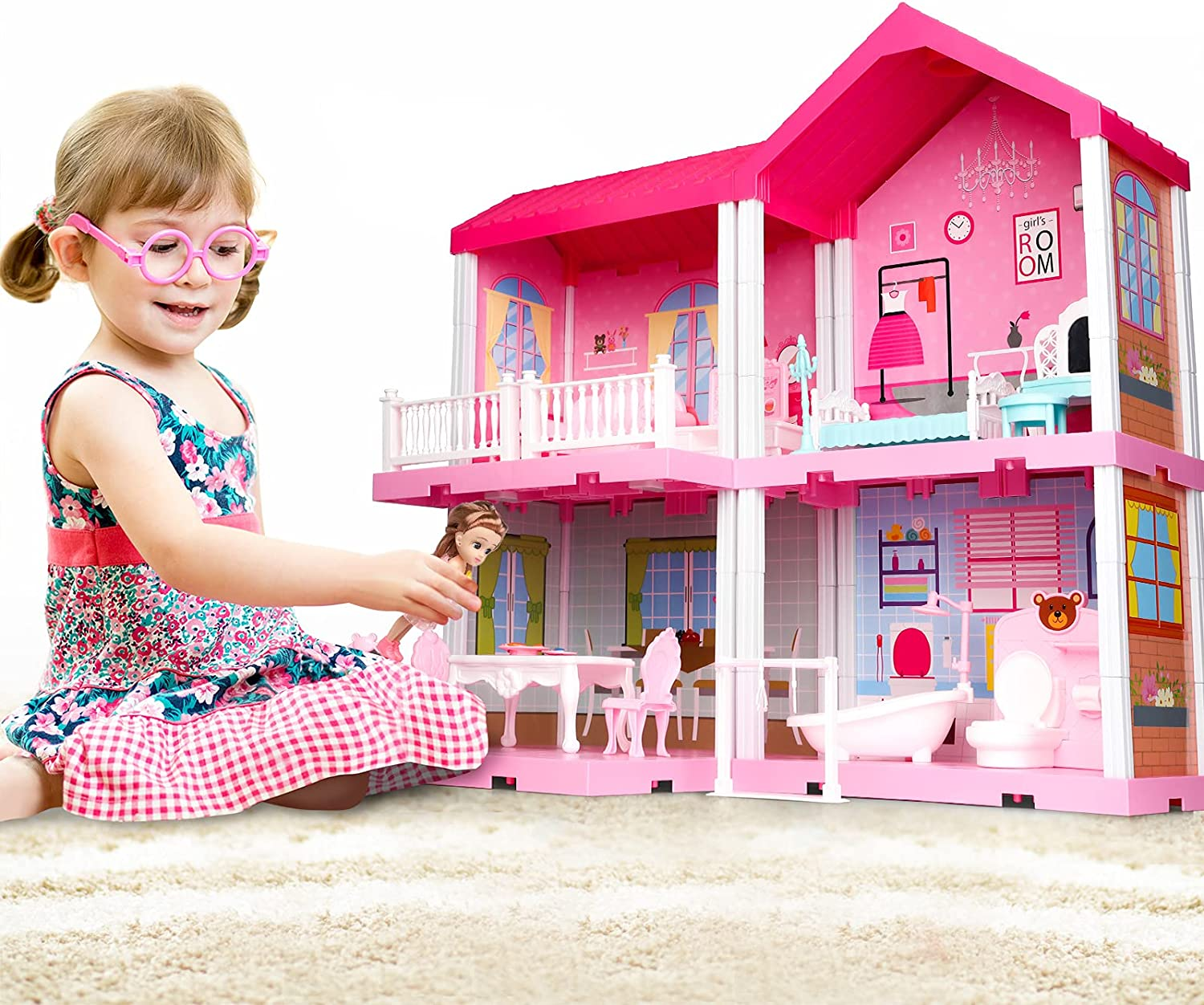 TEMI Dollhouse Dreamhouse with Dolls, DIY Cottage Pretend Play Doll House with Accessories Including Furniture and Household Items, Girl Toys for 3 4 5 6 7 Year Old
