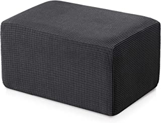 subrtex Stretch Storage Ottoman Slipcover Protector Oversize Spandex Elastic Rectangle Footstool Sofa Slip Cover for Foot Rest Stool Furniture in Living Room (Gray)