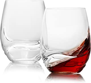 Stemless Crystal Wine Glasses Set of 2 / Large, Aerating, Dailyware All-purpose for Red Wine, Bordeaux, Merlot , Burgundy, Port, Cabernet, Pinot Noir /  16.9 Ounces 500 Milliliters