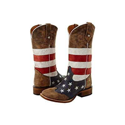 Roper American Flag Square Toe Boot (Brown) Cowboy Boots