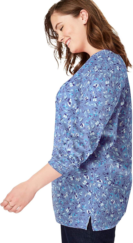 Woman Within Women's Plus Size Thermal Waffle Sweatshirt