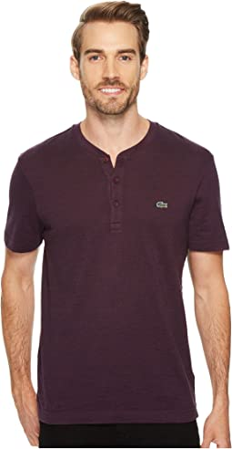 Lacoste - Short Sleeve Plain Slubbed Jersey Tee with Textured Effect
