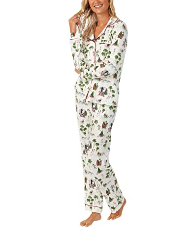 BedHead Pajamas Long Sleeve Classic Notch Collar Pajama Set (Cotton Spandex) (Warm Wishes) Women